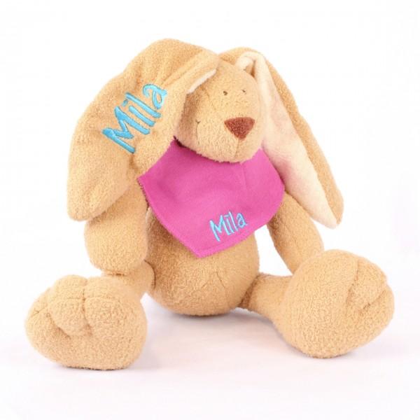 DEAL Hase und Halstuch mit Wunschname pink/mitteltürkis (Modell Mila)