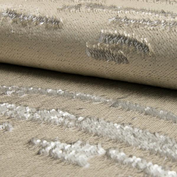 Wendepaillettenstoff Applikationsstück groß ecru matt/silber matt 60*50cm
