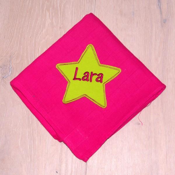 Mulltuch mit Sternapplikation und Wunschnamen pink/lemon (Modell Lara)