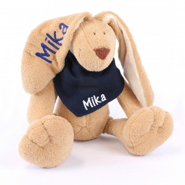 Hase und Halstuch mit Wunschname marine/weiß (Modell Mika)