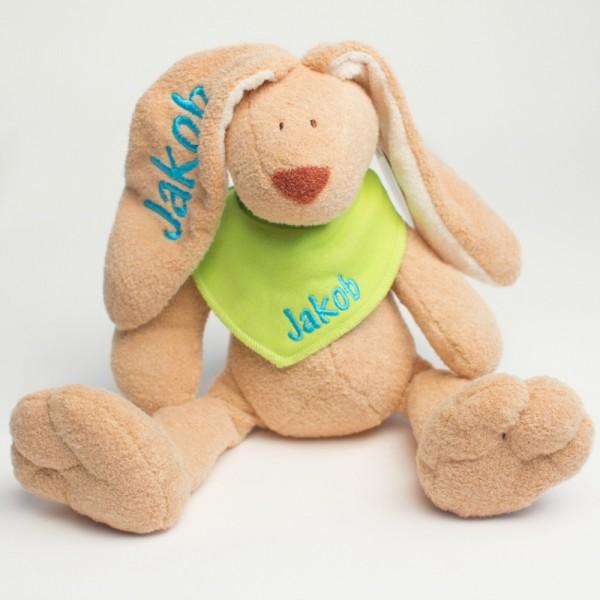 DEAL Hasen und Halstuch mit Wunschname skyblau/lemon (Modell Jakob)