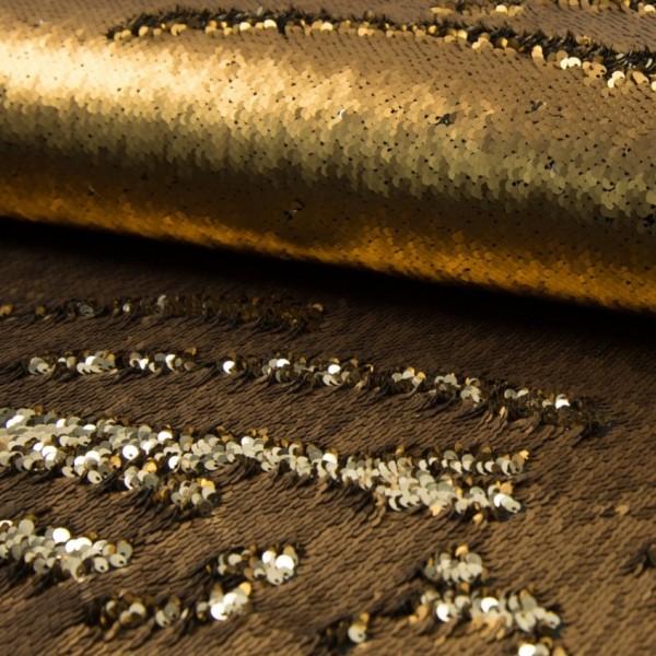 Wendepaillettenstoff Applikationsstück gold glänzend/gold matt 60*50cm