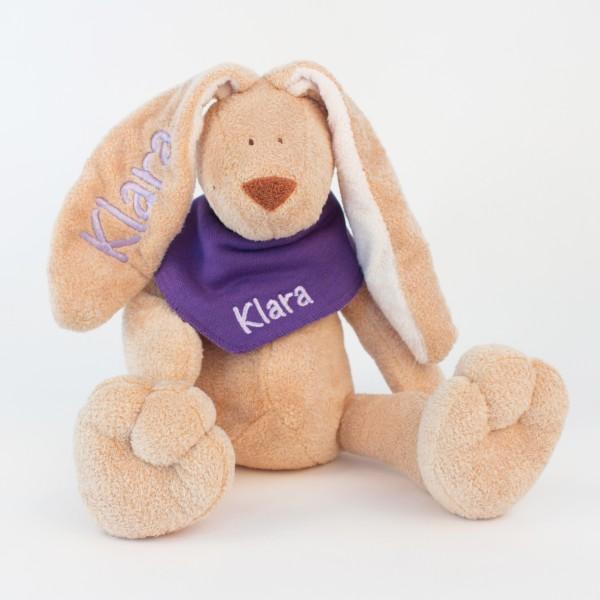 Hase und Halstuch mit Wunschname flieder/lila (Modell Klara)