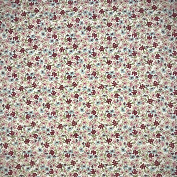 Blumen rosa/türkis/ecru