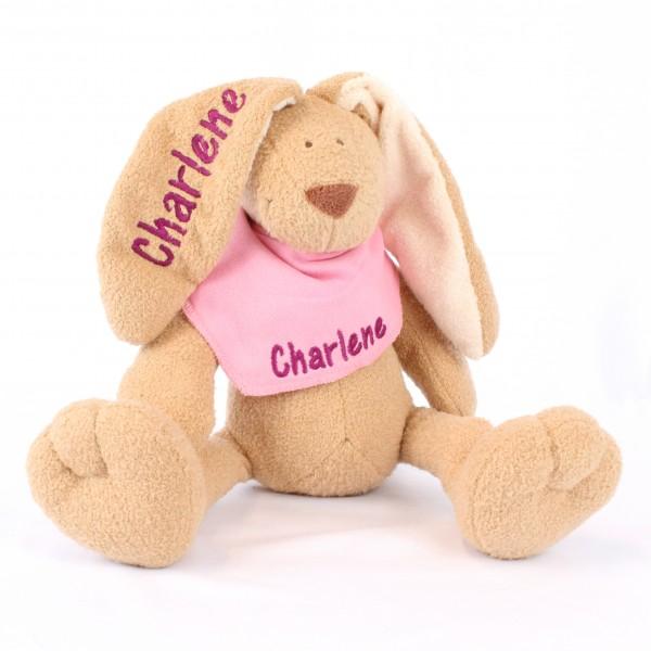 Hase und Halstuch mit Wunschname mittelrosa/dunkelpink (Modell Charlene)