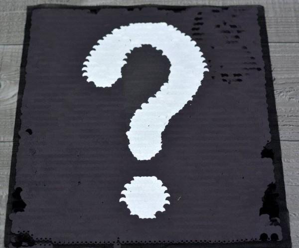 Aufnäher Wendepailletten-Patches Fragezeichen/Ausrufezeichen