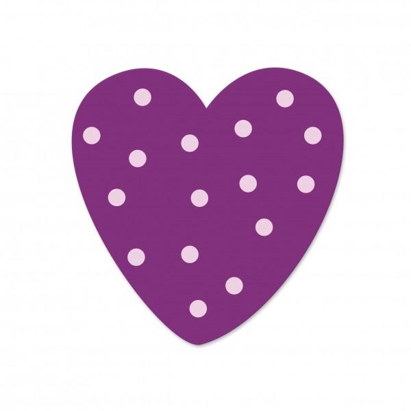 Ausverkauf Motivperle Tupfenherz horizontal violett/babyrosa