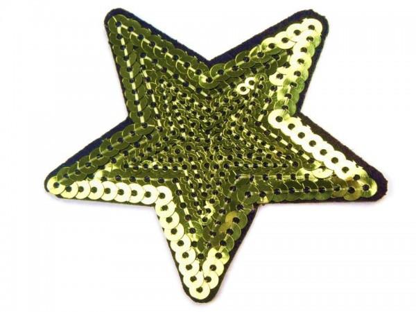 Bügelbild Applikation Stern mit Pailletten lemon