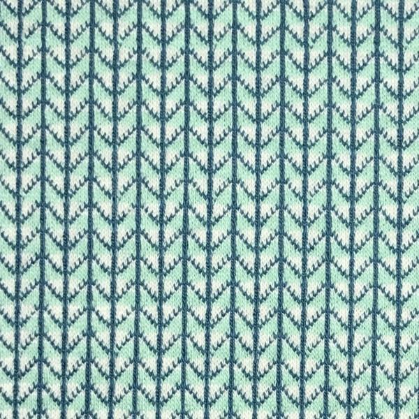Jacquardjersey Knit Knit Ministripes weiß/helltürkis (GOTS) by Albstoffe und Hamburger Liebe