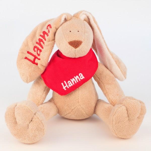 Hase und Halstuch mit Wunschname rot/weiß (Modell Hanna)