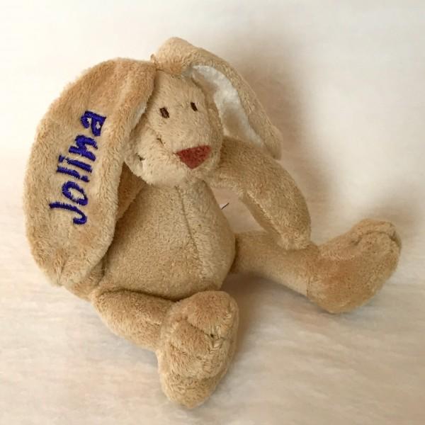 Minihase mit Wunschname lila (Modell Jolina)