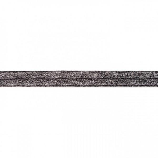 elastisches Falzband Glitzer schwarz, 16mm
