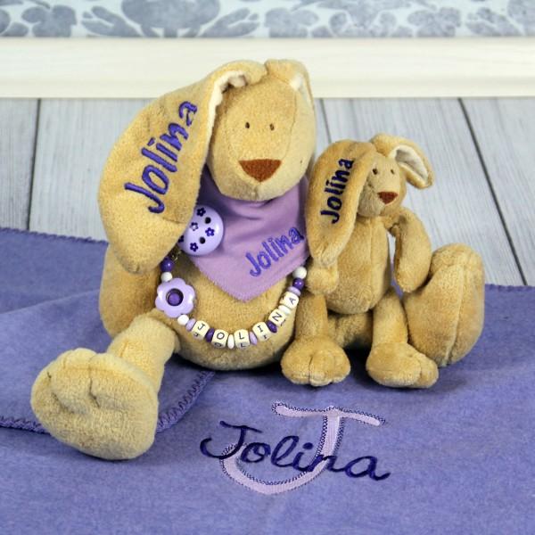 Exklusivset+: Hase, Halstuch, Schnullerkette, Minihase und Decke mit Wunschname (Modell Jolina)
