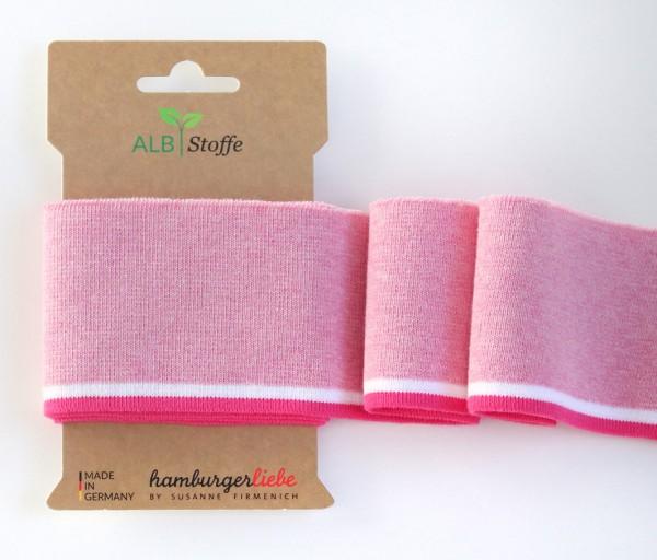 Cuff Me College Strickbündchen rosa meliert/weiß/pink