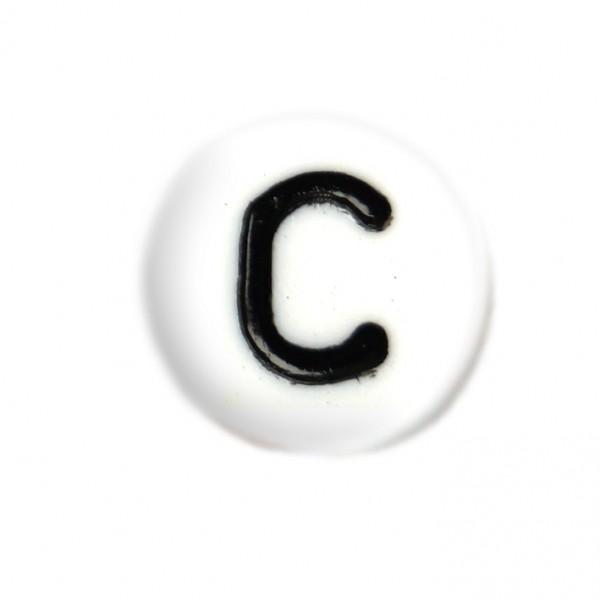 weisse Buchstabenperlen 7 mm C