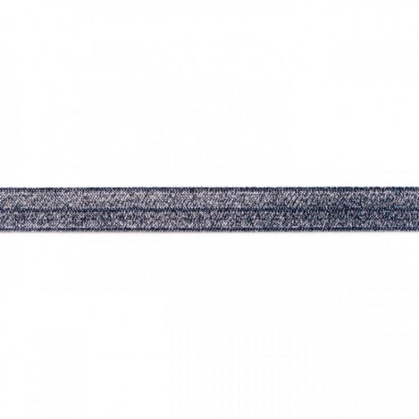 DEAL elastisches Falzband Glitzer marine, 16mm