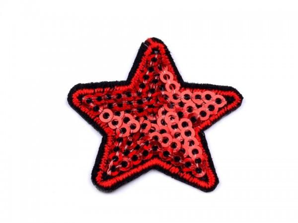 DEAL Bügelbild Applikation Sternchen mit Pailletten rot