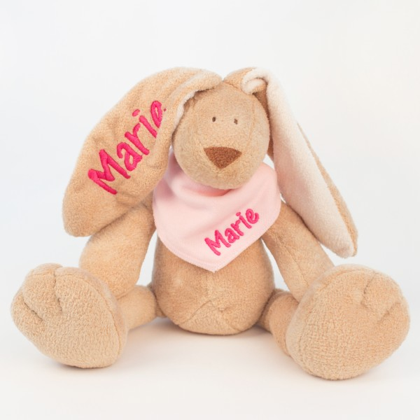 Hase und Halstuch mit Wunschname (Modell Marie)