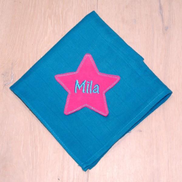 Mulltuch mit Sternapplikation und Wunschnamen türkis/pink (Modell Mila)