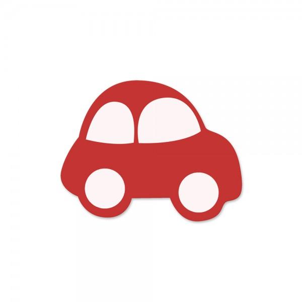 Motivperle Auto horizontal rot/weiß