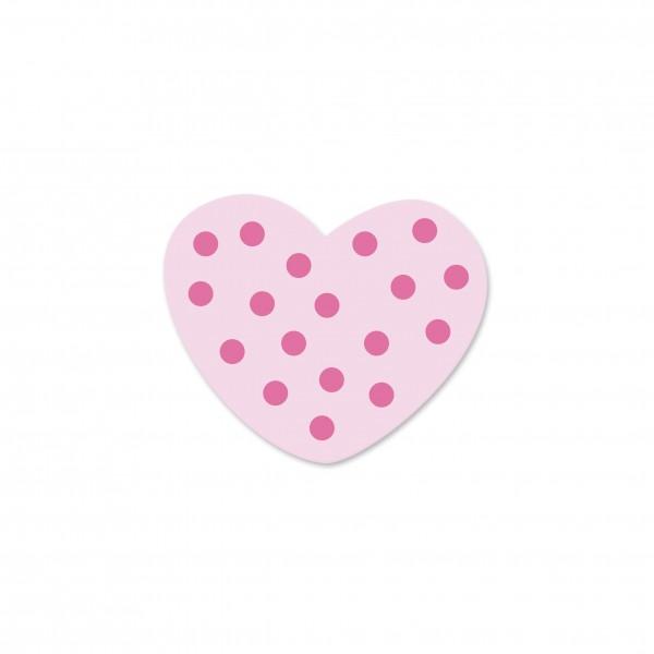 Ausverkauf Motivperle Mini-Tupfenherz horizontal babyrosa/pink