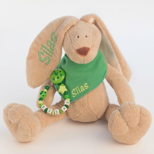 Klassikset: Hase, Halstuch und Schnullerkette mit Wunschname (Modell Silas)