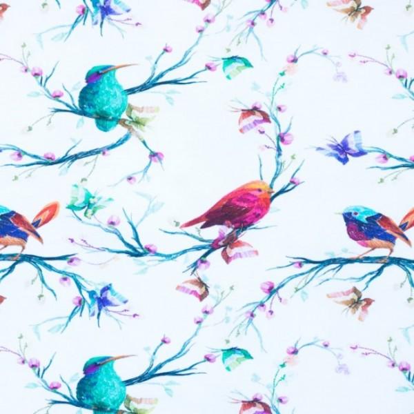 Digitaldruck Vögel im Park Blüten