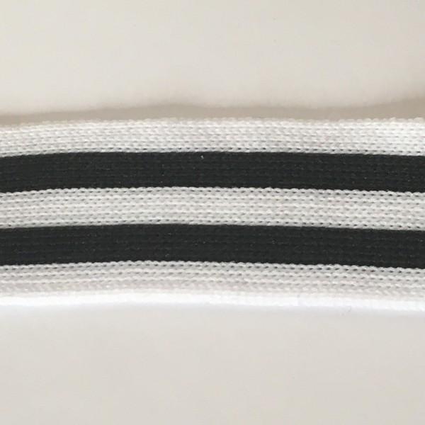 Stripes, hochwertiges, gestricktes Polyesterband in weiß/schwarz