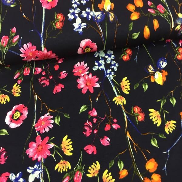 Viskosejersey Blumenwiese schwarz