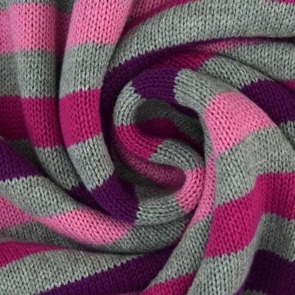 Strickstoff Blockstreifen hellgrau-rosa