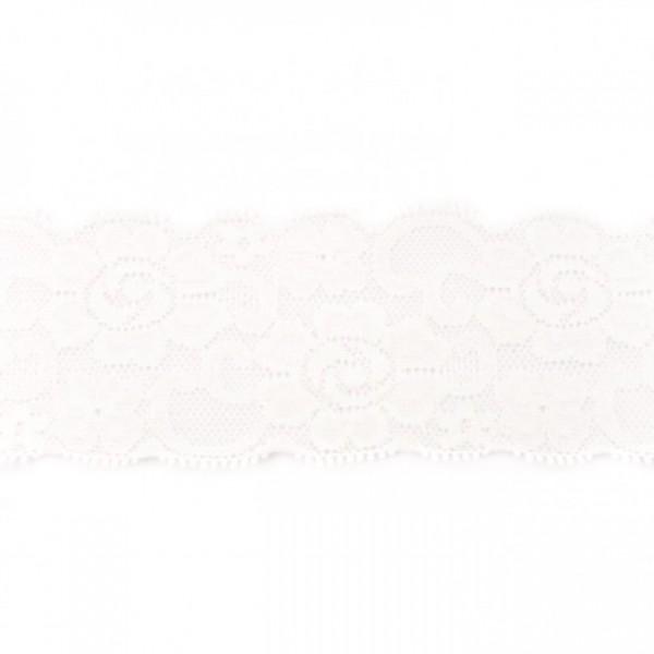 Angebot Elastische Spitzenbordüre Blumen weiß (6 cm breit)