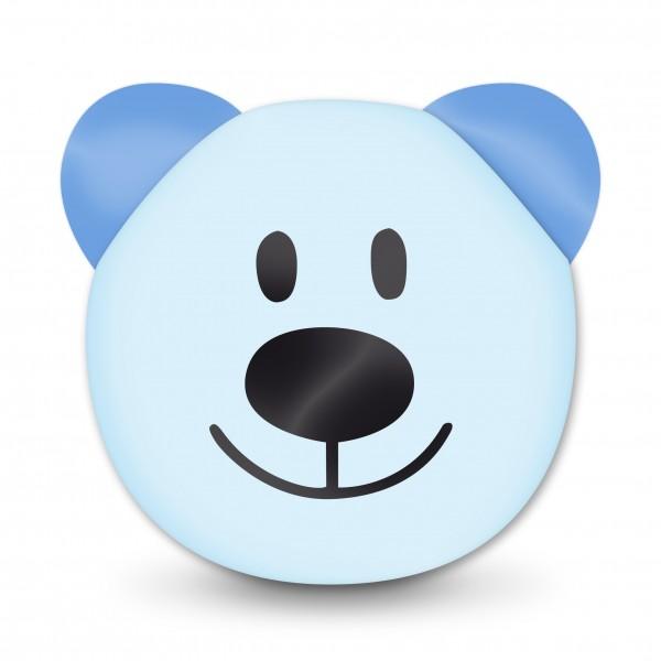Ausverkauf Motivperle 3D-Bär horizontal babyblau/hellblau