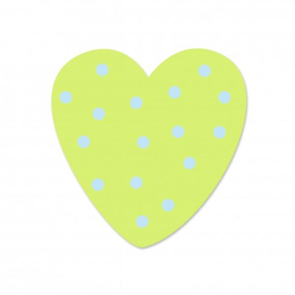 Ausverkauf Motivperle Tupfenherz horizontal lemon/babyblau