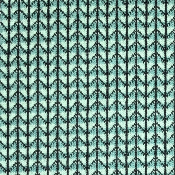 Jacquardjersey Knit Knit Ministripes mint/dunkeltürkis (GOTS) by Albstoffe und Hamburger Liebe