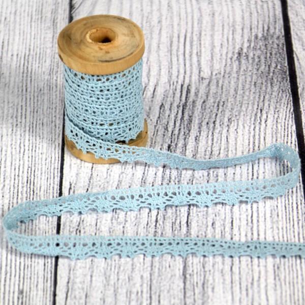 Klöppelspitze 11 mm Baumwolle pastellblau