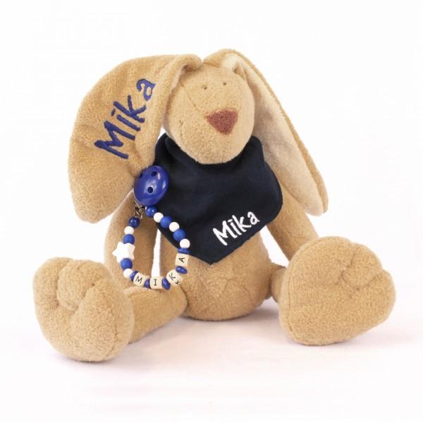 DEAL Klassikset: Hase, Halstuch und Schnullerkette mit Wunschname (Modell Mika)