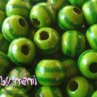 Ausverkauf Bicolourperlen, ca. 25 Stück Streifen grün