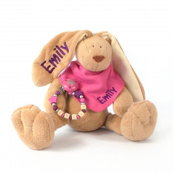 Klassikset: Hase, Halstuch und Schnullerkette mit Wunschname (Modell Emily)