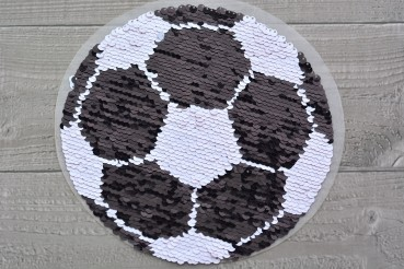 DEAL Bügelbild Wendepailletten Fußball schwarz/weiß / rot/weiß
