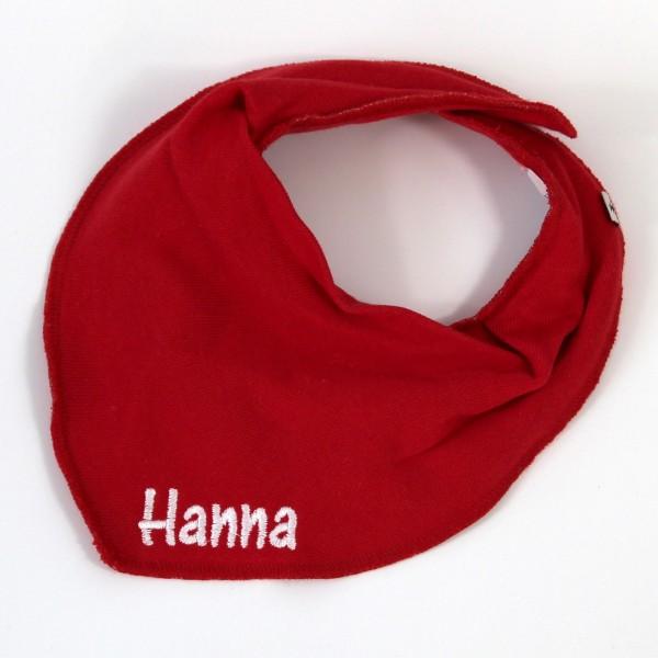 Halstuch mit Name rot/weiß (Modell Hanna)
