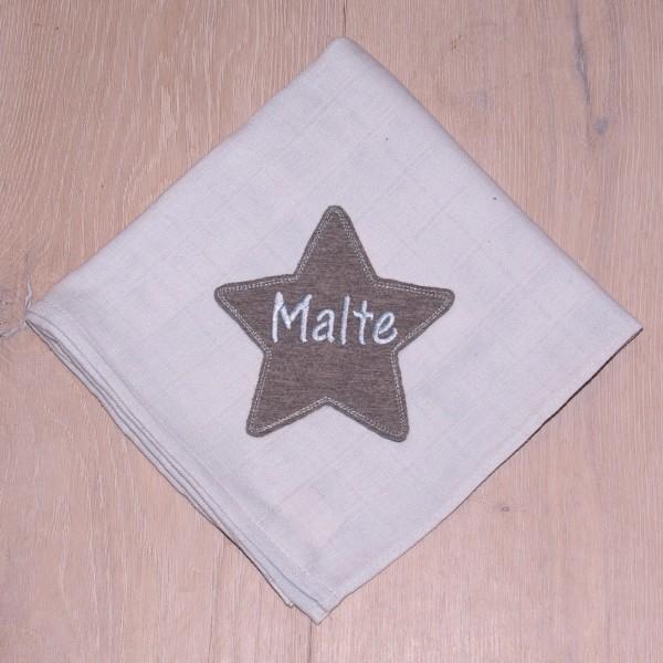 Mulltuch mit Sternapplikation und Wunschnamen babyblau/grau (Modell Malte)