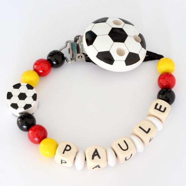 DEAL Fussball-Schnullerkette in Landes- oder Vereinsfarben!