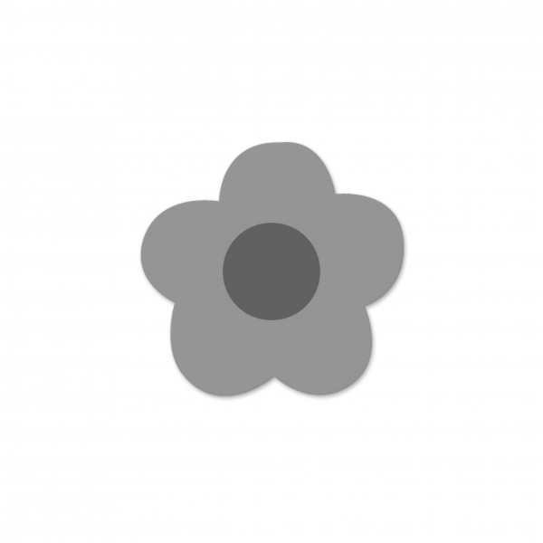 Motivperle Mini-Blume horizontal hellgrau/mittelgrau