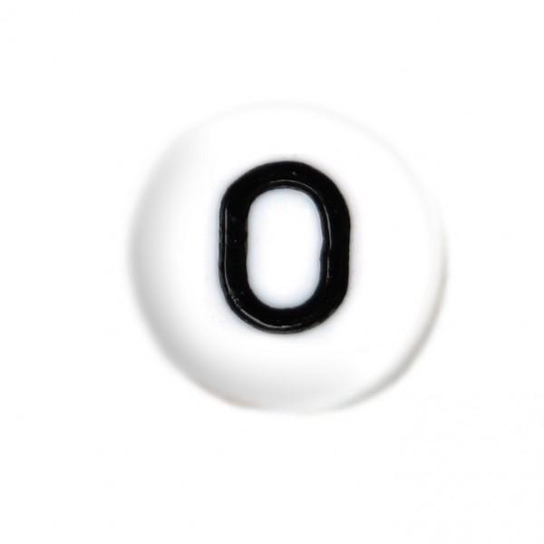 weisse Buchstabenperlen 7 mm O