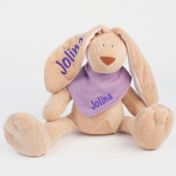 DEAL Hase und Halstuch mit Wunschname flieder/lila (Modell Jolina)