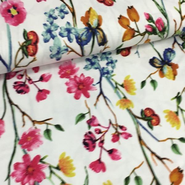 Viskosejersey Blumenwiese weiß