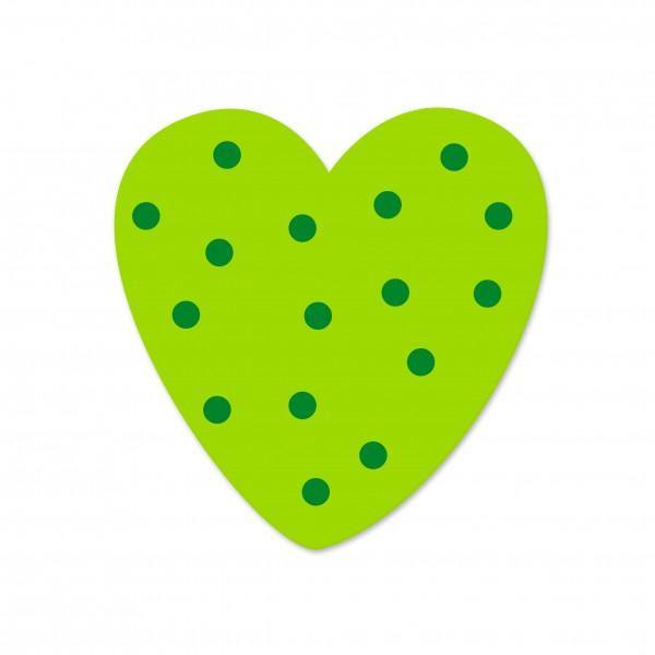 Ausverkauf Motivperle Tupfenherz horizontal apfelgrün/mittelgrün