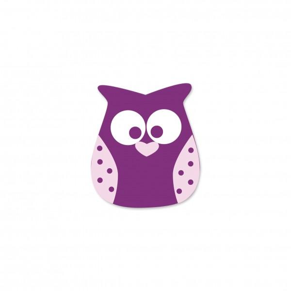 Ausverkauf Motivperle Eule horizontal violett/babyrosa