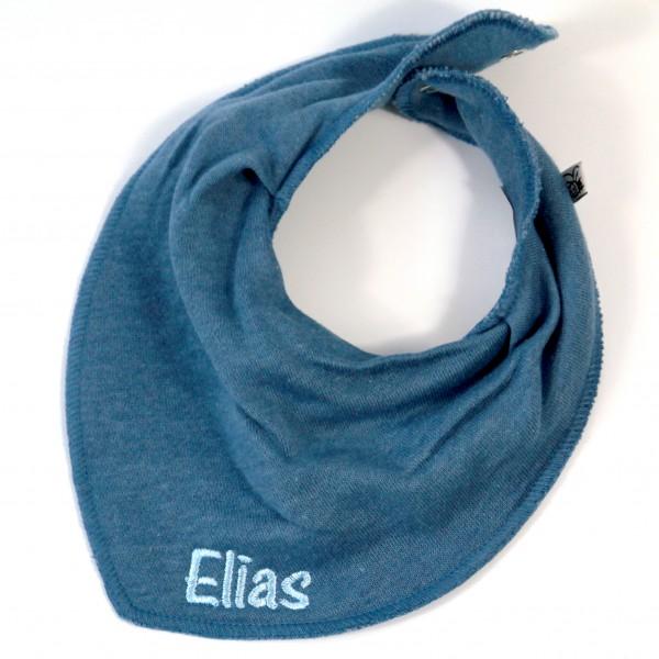 Halstuch mit Name jeansblau/babyblau (Modell Elias)
