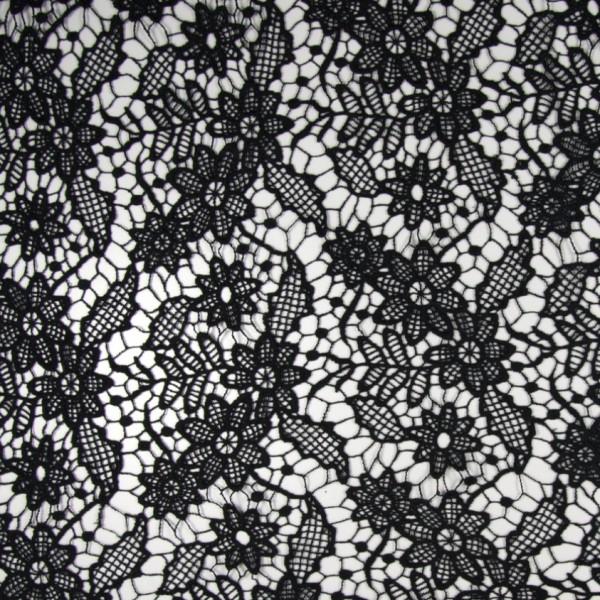 Reststück 1m hochwertige Baumwoll-Spitze schwarz